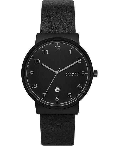 Skagen Men's Ancher Black Leather Strap Watch 40mm