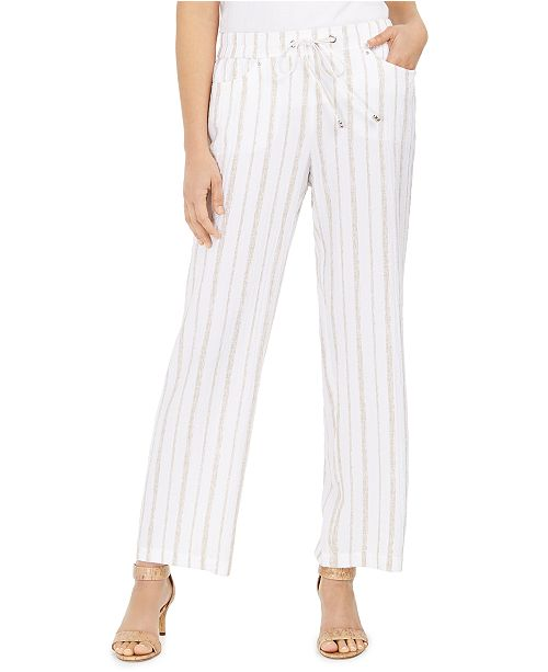JM Collection Striped Pull-On Pants, Created for Macy's