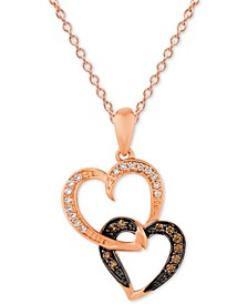 "Chocolatier® Diamond Double Heart 18"" Pendant Necklace (1/6 ct. t.w.) in 14k Rose Gold"