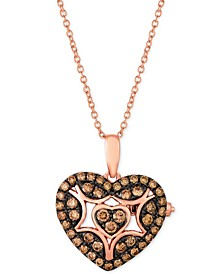 "Chocolatier® Chocolate Diamond Heart 18"" Pendant Necklace (1/2 ct. t.w.) in 14k Rose Gold"