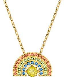 "Gold-Tone Crystal Rainbow Pendant Necklace, 14-7/8"" + 2"" extender"