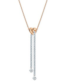 "Two-Tone Heart Knot & Crystal Lariat Necklace, 16-1/2"" + 2"" extender"