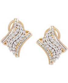 Diamond Cluster Huggie Hoop Earrings (1 ct. t.w.) in 10k Gold