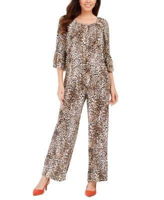 Ruffle-Sleeve Cheetah-Print Crepon Top, Created For Macy's
