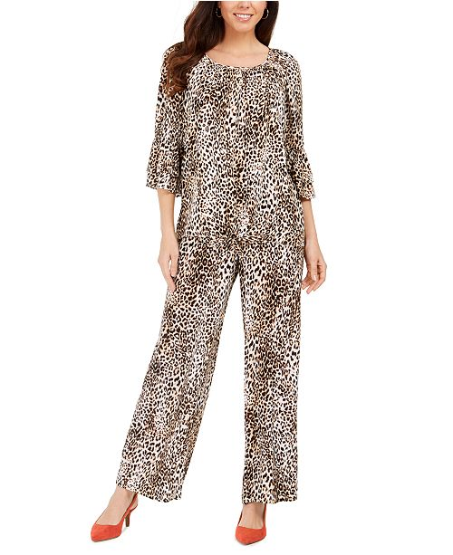 JM Collection Ruffle-Sleeve Cheetah-Print Top & Printed Pull-On Pants, Created For Macy's