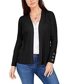 Ribbed Button-Sleeve Cardigan, Created for Macy's