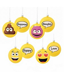 86MM Emoticon Disc Ornaments, 4-Piece Box Set