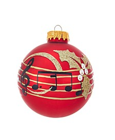 80MM Red With Music Notes Glass Ball Ornaments, 6-Piece Box