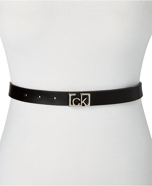 Calvin Klein Skinny Flat Strap Leather Belt With CK Plaque Buckle