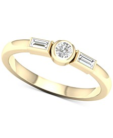 Diamond Bezel Three Stone Ring (1/5 ct. t.w.) in 10k Gold