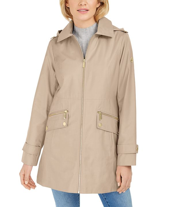 Michael Kors Hooded Water-Resistant Raincoat