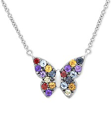 "Multi-Gemstone Butterfly 17"" Pendant Necklace (7/8 ct. t.w.) in Sterling Silver"