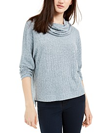 Juniors' High-Low Cowl-Neck Sweater