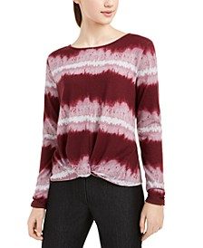 Juniors' Tie-Dyed Twist-Front Ruched-Sleeve Top