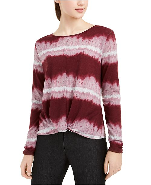BCX Juniors' Tie-Dyed Twist-Front Ruched-Sleeve Top