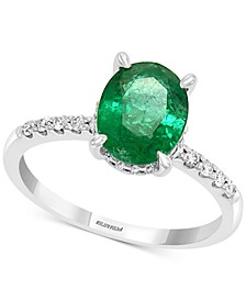 EFFY® Emerald (1-1/2 ct. t.w.) & Diamond (1/5 ct. t.w.) Ring in 14k White Gold