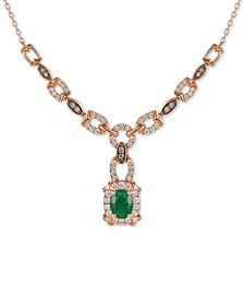 "Costa Smeralda Emerald (7/8 ct. t.w.) & Diamond (3/4 ct. t.w.) Chain Link 16"" Pendant Necklace in 14k Rose Gold"