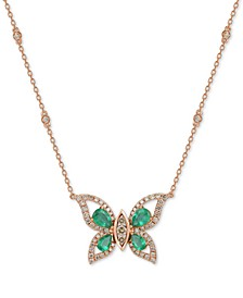 "Costa Smeralda Emerald (1-5/8 ct. t.w.) & Diamond (1-1/10 ct. t.w.) Butterfly 18"" Pendant Necklace in 14k Rose Gold"