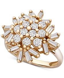 Diamond Baguette Snowflake Cluster Statement Ring (1 ct. t.w.) in 10k Gold