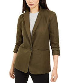 Petite Ruched Sleeve Linen Blazer