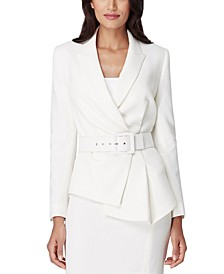 Petite Belted Asymmetrical Crepe Blazer