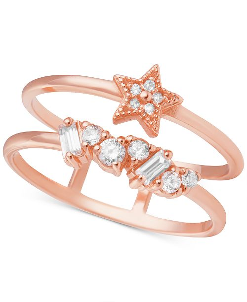 Olivia Burton Swarovski Crystal Celestial Double Band Statement Ring in Rose Gold-Plated Brass