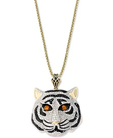 "EFFY® Diamond (3-1/4 ct. t.w.) & Orange Sapphire (3/8 ct. t.w.) Tiger 18"" Pendant Necklace in 14k Gold"