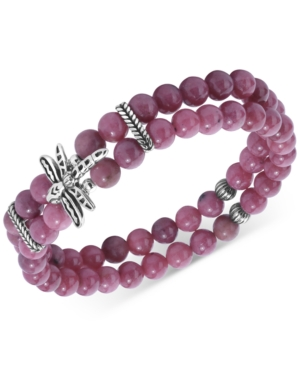 Rhodonite Bead & Dragonfly Double Strand Stretch Bracelet in Sterling Silver