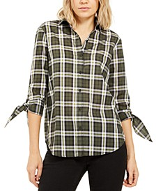 Cotton Plaid Tie-Sleeve Shirt, Regular & Petite