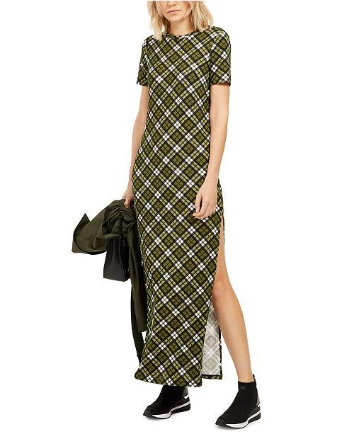 Michael Kors Plaid T-Shirt Maxi Dress