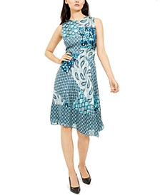 Azure Mixed-Print Dress