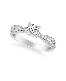 Diamond Twist Engagement Ring (5/8 ct. t.w.) in 14k Rose, Yellow or White Gold
