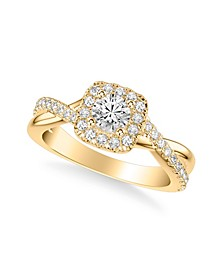 Diamond Halo Engagement Ring (7/8 ct. t.w.) in 14k White, Yellow or Rose Gold