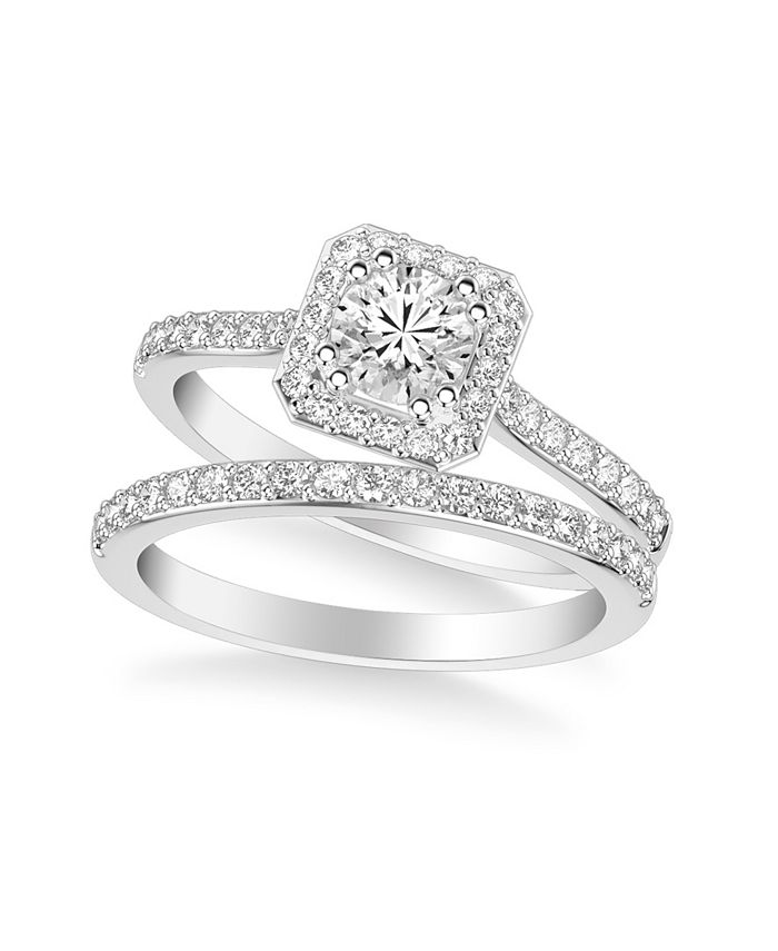 Macy's - Diamond Halo Bridal Set (1 ct. t.w.) in 14k White, Yellow or Rose Gold