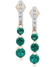 Emerald (7/8 ct. t.w.) & Diamond (1/20 ct. t.w.) Drop Earrings in 14k Gold (Also in Sapphire & Certified Ruby)
