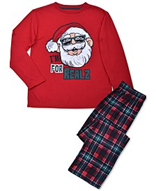Little & Big Boys 2-Pc. Santa Top & Plaid Pants Pajamas Set