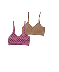 Tahari Girl Seamless 2-Pack Gold Foil Heart Bra with Removable Cups