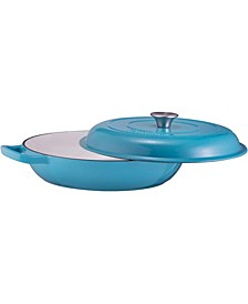 Enameled Shallow Casserole Braiser Pan with Cover