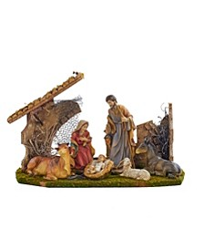 Holy Family Set with 6 Figures and Stable