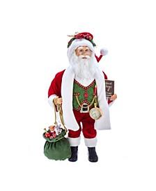 18-Inch Kringle Klaus Red, Green, White Santa