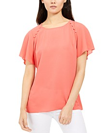 Petite Button-Detail Top