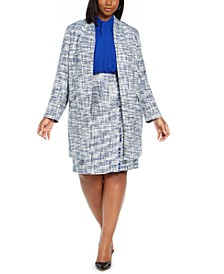 Plus Size Tweed Topper Overlay Blouse & Pencil Skirt