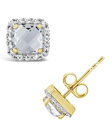 Created White Sapphire (1-1/3 ct. t.w.) and Created White Sapphire (1/5 ct. t.w.) Halo Stud Earrings in 10k Yellow Gold. Also Available in Created Spinel Aquamarine and Created Ruby