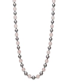 "Gray Cultured Freshwater Pearl 7.5-8.5mm and Rose Quartz 8mm 18"" Necklace with Sterling Silver Beads"