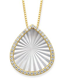 "Mother of Pearl 15x13mm and Cubic Zirconia Pear Shaped Pendant with 18"" Chain in Gold over Silver"