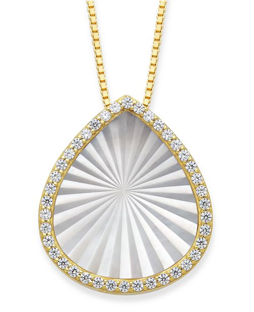 "Macy's Mother of Pearl 15x13mm and Cubic Zirconia Pear Shaped Pendant with 18"" Chain in Gold over Silver"