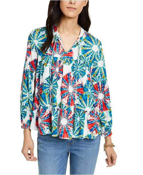 Tommy Hilfiger Tiered Tie-Dyed Peasant Top