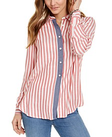 Chambray & Stripes Button-Up Shirt