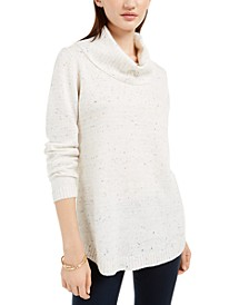 Juniors' Flecked Cowl-Neck Sweater