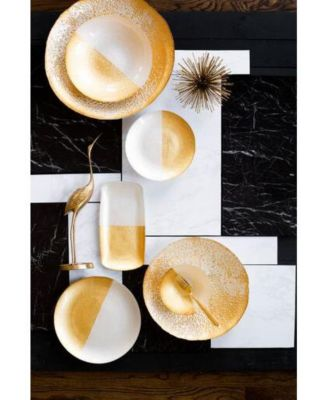 Two-Tone Glass White & Gold Salad Plate